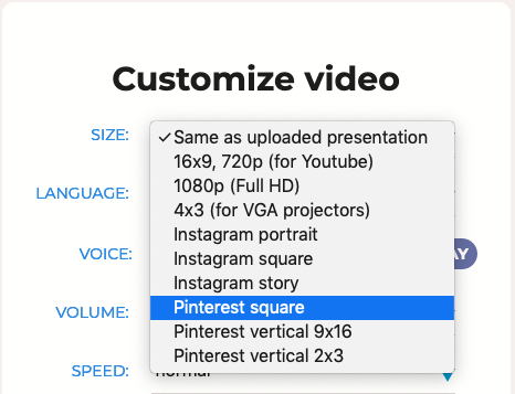 pinterest video sizes
